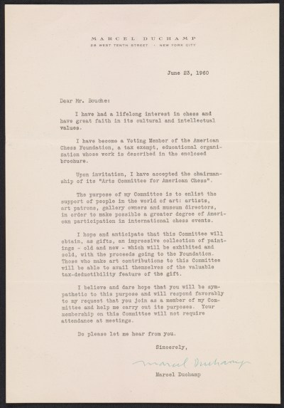 Marcel Duchamp letter to Louis George Bouché