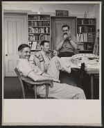 Everett Henry, Allen Saalburg, and Louis Bouché with model of 1939 New York Worlds Fair Home Building Center