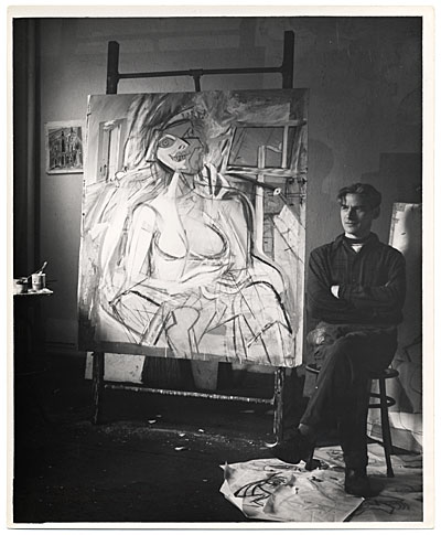 Willem de Kooning in his studio
