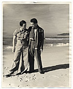 Betty and Harry Bowden on the beach at Carmel, California.