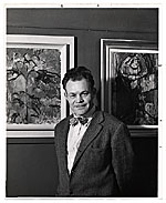 Harry Bowden with paintings
