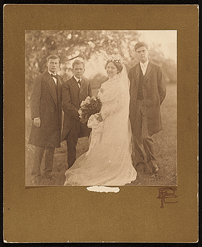 [Nancy Douglas Brush and Robert Pearmain on their wedding day with Gerome and George de Forest Brush]