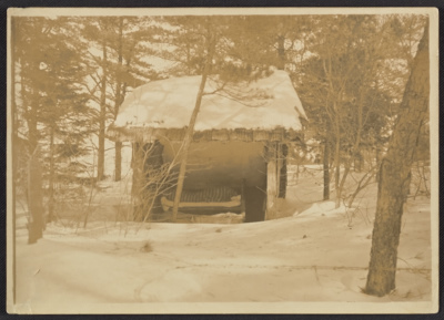 Gladys Thayer in her sleeping hut