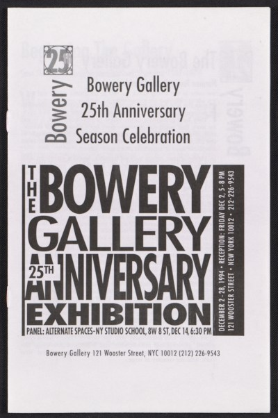 [Bowery Gallery brochure for 25th anniversary season celebration]