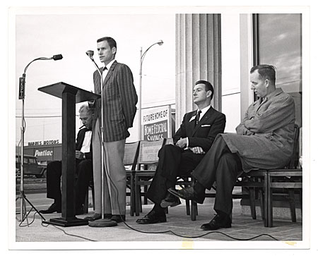 [Edgar W. Bowlin at a podium.]