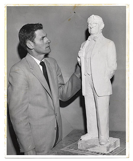 [Edgar W. Bowlin with sculpture.]