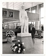 [Edgar W. Bowlin with sculpture ]