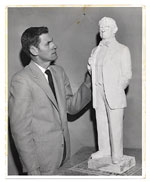 Edgar W. Bowlin with sculpture.