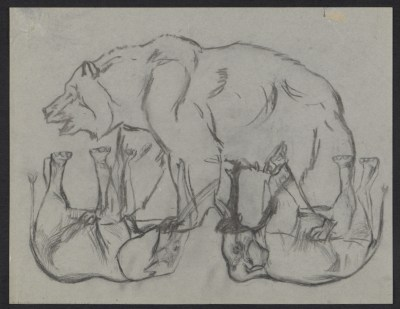 [Sketches of a bear and elephants]