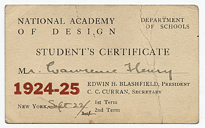 Payment for Entrance Fee to the National Academy of Design's school