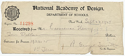 [National Academy of Design receipt for tuition payment from Lawrence Henry]