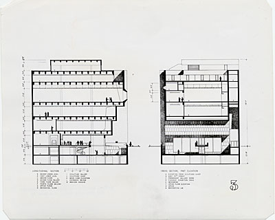 Whitney Museum of American Art, cross section and elevation, designed by Marcel Breuer