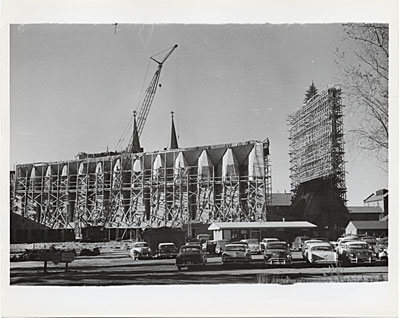 St. Johns Abbey and University under construction, Collegeville, Minnesota