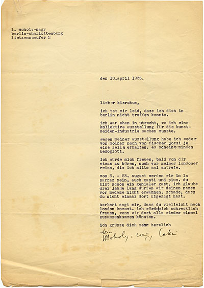 László Moholy-Nagy, Berlin, Germany letter to Marcel Breuer, London, England