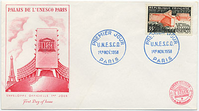 [First day cover commemorating opening day at UNESCO Headquarters, Paris]