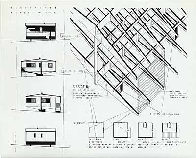 Plas-2-Point prefabricated house, elevation drawings, designed by Marcel Breuer