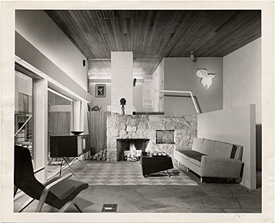 [The House in the Museum Garden, living room, Museum of Modern Art, New York]