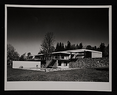 Gagarin House I, Conn., designed by Marcel Breuer.  Southwest exterior view