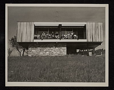 [Wolfson Trailer House designed by Marcel Breuer. Pleasant Valley, New York. View of South elevation]