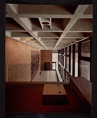 [Strom Thurmond Federal Office Building and Courthouse designed by Marcel Breuer. View of lobby from second floor]