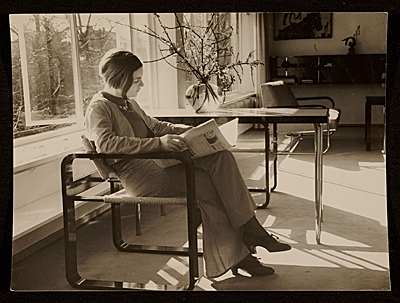 [Marianne Harnischmacher in the living room of the Harnischmacher House, Wiesbaden, Germany, designed by Marcel Breuer]