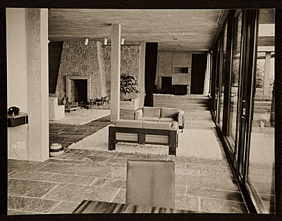 [Koerfer House, Moscia, Switzerland, designed by Marcel Breuer.  Interior view]