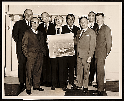 Interama Architects, (from left to right) Edward Durell Stone, Jose Luis Sert, Marcel Breuer, Louis I. Kahn, Robert B. Browne, Dr. Irving E. Muskat, Harry M. Weese, and Paul Rudolph