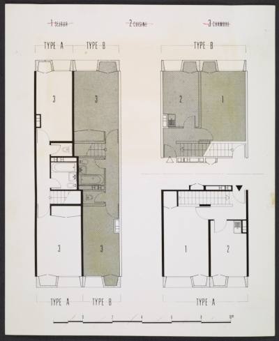 Plans for the two bedroom apartments in the Bayonne, France