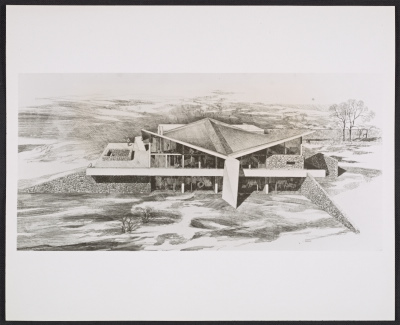 A presentation drawing of the Soriano House in Greenwich, Connecticut