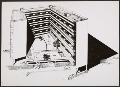 A presentation drawing of the East River Apartments in New York, New York