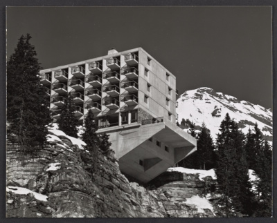 A view of the cantilevered terrace at the south end of the Le Flaine Hotel in the Flaine Ski Resort in Haute-Savoie, France