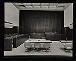 Strom Thurmond Federal Office Building and Courthouse designed by Marcel Breuer. View of disctrict court room