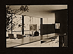Marcel Breuer sitting in Philip Johnsons Glass House, New Canaan, Conn.