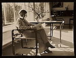 Marianne Harnischmacher in the living room of the Harnischmacher House, Wiesbaden, Germany, designed by Marcel Breuer