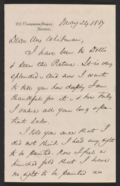 [Phillips Brooks letter to Sarah Wyman Whitman]