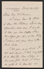 Phillips Brooks letter to Sarah Wyman Whitman
