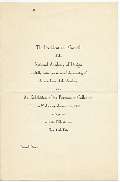 [National Academy of Design (U.S.) to Putnam Brinley.]