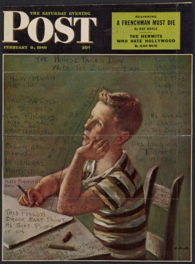 Cover of the Saturday Evening Post with illustration by Alexander Brook and handwritten annotations
