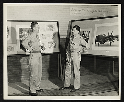 Richard Jansen and James Brooks at an exhibit of works by War Department artists