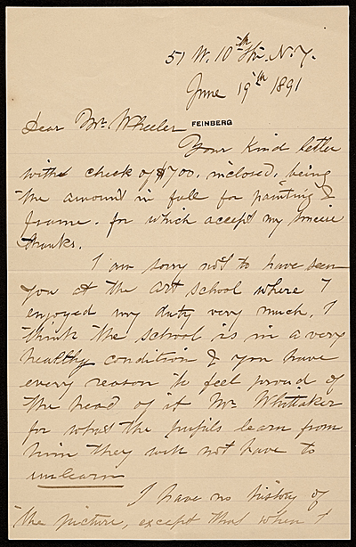 [John George Brown letter to Hayden W. Wheeler]