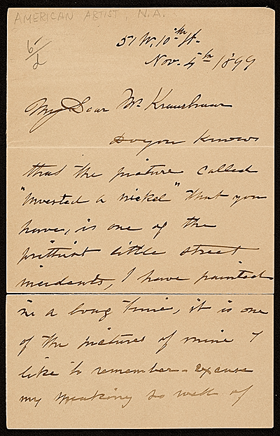 [John George Brown letter to Mr. Kraushaar]