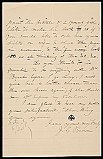 [John George Brown letter to Hayden W. Wheeler verso 1]