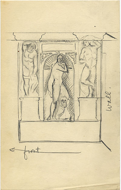 [Sketch of the reconstruction of the tomb of Julius II]