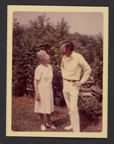 [Lucy Morgan and Bill Brown on Penland's campus, ca. 1965]