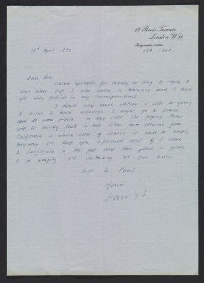 [David Hockney letter to William Theo Brown]