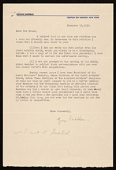 [George Biddle letter to Edward Bruce]
