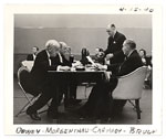 Edward Bruce, William Carmody, John Dewey and Henry Morgenthau during radio broadcast