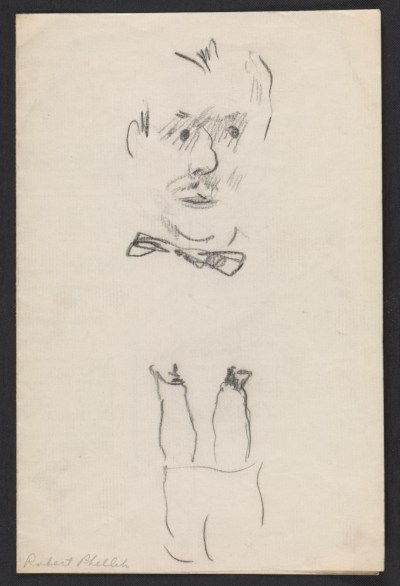 Self-portrait on back of a menu