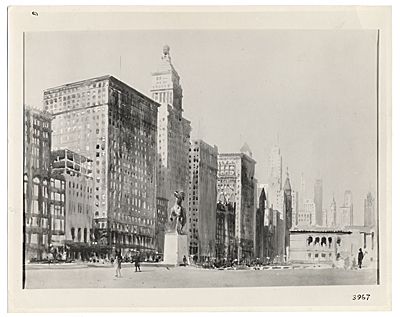 Photograph of Michigan Avenue, Chicago, watercolor by William Spencer Bagdatopoulos