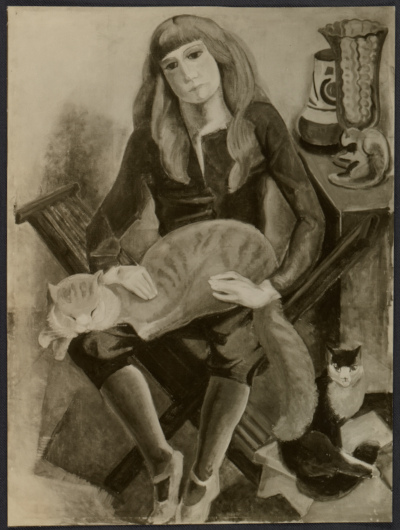 [Reproduction of Marguerite Zorach's painting Child with cat]